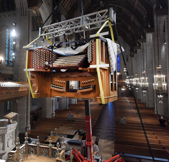Hoisting the New Organ Console into the Choir Loft: Fourth Presbyterian Church