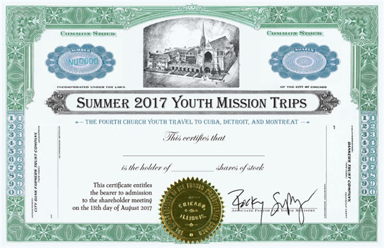 Youth Ministry Stock Certificate from Fourth Presbyterian Church