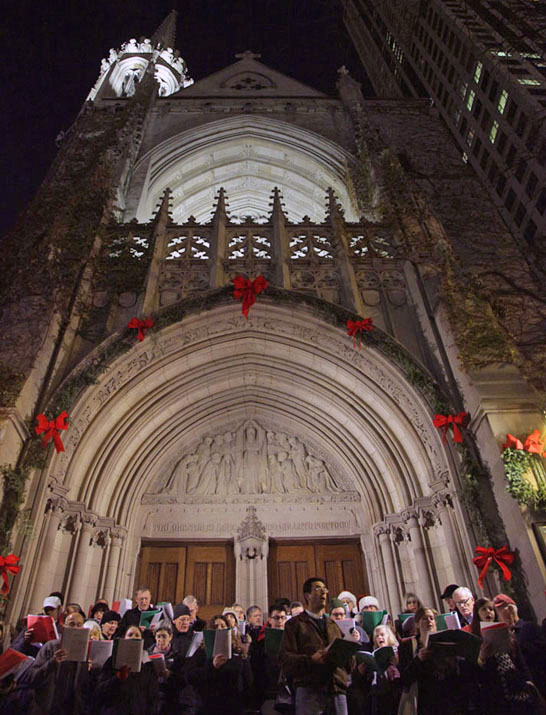 Caroling at Fourth Presbyterian Church as part of the Magnificent Mile Lights Festival